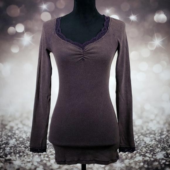 Free People Purple Veba Lace Cuff Thermal